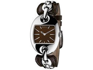Gucci YA121310 Stainless Steel 121 Brown Dial Leather Strap