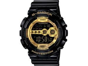 Casio GD100GB-1 Black Resin G-Shock Digital Strap Gold Tone