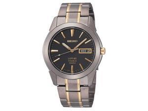 Seiko Two-tone Titanium Black Dial Mens Watch SGG735
