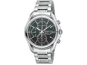 Seiko Solar Black Dial Stainless Steel Chronograph Mens Watch SSC001