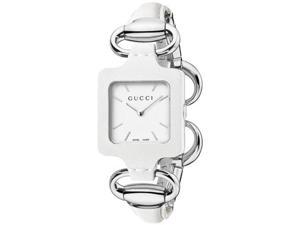 Gucci 1921 White Dial White Leather Strap Ladies Watch YA130404