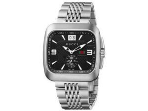 Gucci G Coupe Quartz Black Dial Stainless Steel Mens Watch YA131305