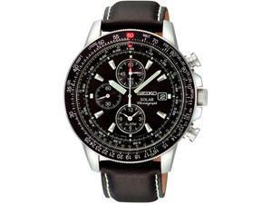 Seiko SSC009P3 Stainless Steel Solar Flight Quartz Alarm Chronograph Black Dial Genuine Leather