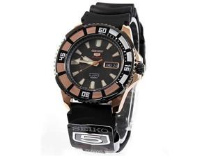 Seiko SRP210 Stainless Steel Seiko 5 Sports Automatic Black Dial Day Date Rose Gold Tone Bezel