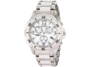 Citizen FB1230-50A Stainless Steel Case Eco-Drive Ceramic Band Chronograph White Dial