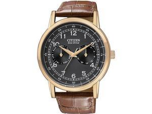 Citizen AO9003-08E Gold Tone Stainless Steel Case Black Dial Day and Date Display Brown Leather Strap