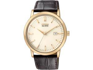 Citizen BM7193-07B Eco-Drive Rose Gold Tone Stainless Steel Case Gold Dial Brown Leather Strap Date Display