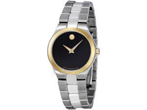 Movado 0606560 Stainless Steel Case and Bracelet Watch - Black Dial Signature Movado Dot Gold Bezel