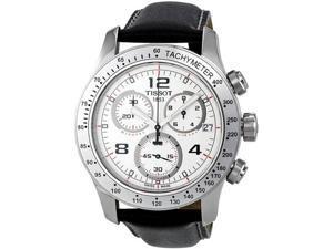 Tissot T0394171603702 Stainless Steel Quartz Chronograph V8 White Dial Black Leather Strap