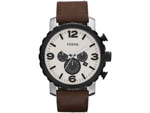Fossil Nate Chronograph Eggshell Dial Stainless Steel Mens Watch JR1390