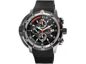 Citizen BJ2128-05E Eco-Drive Diver Chronograph Stainless Steel Case Rubber Bracelet Black Tone Dial