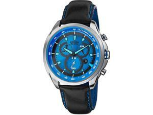 Citizen AT2180-00L Drive Collection Eco-Drive Chronograph Stainless Steel Case Leather Bracelet Blue Tone Dial
