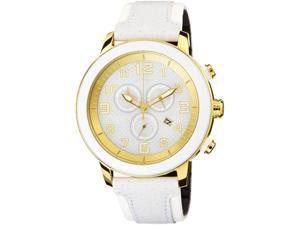 Citizen AT2232-08A Drive Collection Eco-Drive Chronograph Gold Tone Stainless Steel Case Leather Bracelet White Tone Dial