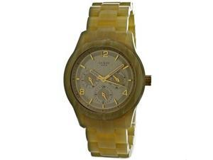 Guess W13572L2 Plastic Resin Case and Bracelet Gold Tone Dial Day and Date Displays