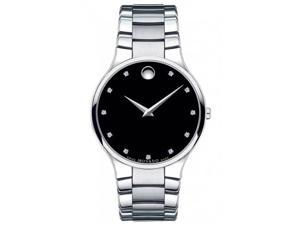 Movado Serio Diamond Black Dial Stainless Steel Mens Watch 0606490