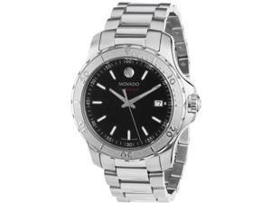 Movado Series 800 Black Dial Stainless Steel Mens Watch 2600115