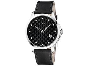 Gucci G-Timeless Black Dial Black Leather Ladies Watch YA126305