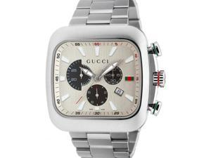 Gucci Coupe Quartz XL Chronograph Silver Dial Steel Mens Watch YA131201