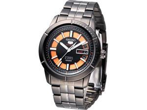 Seiko Automatic Black and Orange Dial Black PVD Mens Watch SRP345