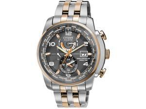 Citizen AT9016-56H Eco-Drive Radio Controlled World Time Two Tone Stainless Steel Case and Bracelet Gray Tone Dial Date Display