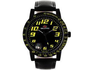 Seapro SP5113 Stainless Steel Case Leather Strap Black Tone Dial Quartz Compass