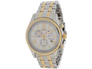 Citizen FB1364-53A Eco-Drive Chronograph Two Tone Stainless Steel Case and Bracelet White Tone Dial Date Display