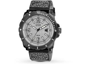 Citizen BM7276-01H Eco-Drive Stainless Steel Case Leather Strap Gray Tone Dial Date Display