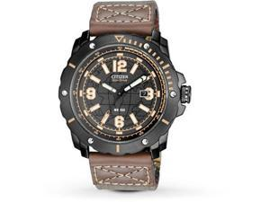 Citizen BM7279-03E Eco-Drive Stainless Steel Case Leather Strap Black Tone Dial Date Display