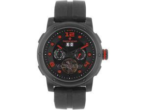 Christian Van Sant CV7131 Skull Automatic Black Tone Stainless Steel Case Rubber Strap Black Tone Skeleton Dial Day Date and Month Displays