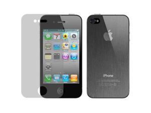 Hornettek Diamond Shield Anti-Scratch/Glare/Finger Proof Screen&Back Protection Film for iPhone 4 /4S- Hairline Texture