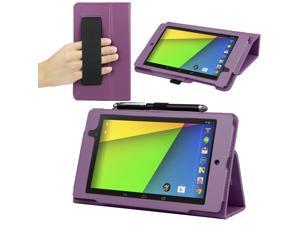 Evecase® SlimBook Folio Classic Leather Case Auto Sleep/Wake Cover for Google Nexus 7 FHD - 7'' Nexus 7 II / 2nd Gen 2013 ...