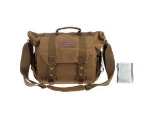 Evecase Large Canvas Messenger DSLR Digital Camera Bag w/ Rain cover, Tablet/Laptop Compartment and Shoulder Strap – Brown