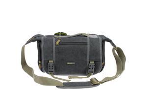 Evecase Large Vintage Canvas Messenger SLR Camera case/bag with Shoulder Strap for Canon Nikon Sony Panasonic FujiFilm Olympus Pentax and more DSLR Camera (Gray)