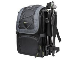 Evecase Black and Gary Camera Large DSLR Backpack for Canon EOS Series Rebel T4i, T3i, T3, T2i, XS, XSi, XTi, 6D, 7D, 7D Mark II, 60D, 60Da, M, 5D Mark III, 1D X, 1Ds Mark III and More SLR Cameras