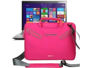 Evecase Multi-functional Neoprene Messenger Case Tote Bag for Lenovo ThinkPad X1 Carbon (2014) New 14 inch Touchscreen IPS Ultrabook i7-4600U 20A70037US / 20A70033US/ 20A7002QUS Laptop - Hot Pink
