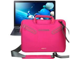 Evecase Multi-functional Neoprene Messenger Case Tote Bag for Samsung ATIV Book 9 Plus/ ATIV Book 9 Lite / Samsung Series 5 NP530U3B 13.3-Inch Laptop Ultrabook - Hot Pink