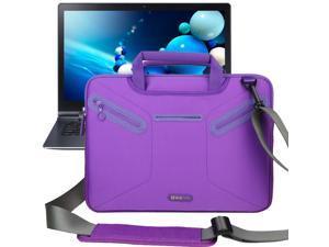 Evecase Multi-functional Neoprene Messenger Case Tote Bag for Samsung ATIV Book 9 Plus/ ATIV Book 9 Lite / Samsung Series 5 NP530U3B 13.3-Inch Laptop Ultrabook - Purple