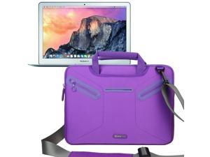 Evecase 2015 New MacBook Air 13, 13.3 inch Laptop (NEWEST VERSION) Multi-functional Neoprene Messenger Case Tote Bag - Purple