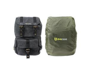 Evecase Convertible School / DSLR Camera Lens Canvas Backpack Rucksack with Rain Cover - Black for DSLR Cameras (Water Resistant)