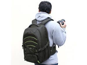Evecase Professional Large DSLR Camera and Laptop Rugged Backpack for Samsung NX2000, NX1100, NX300, NX30, NX1, WB2200F, Galaxy NX – Black/Green