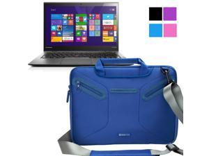 Evecase Lenovo Thinkpad X1 Carbon 14-Inch Ultrabook Case, Supper Protection Sleeve Shoulder Bag / Multi-functional Briefcase Carrying Messenger Case Tote Bag w/ Handle and Shoulder Strap - Blue