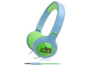 iKross Blue / Green Kids 3.5mm Volume Limit headphone headset w/ 3.5mm Long cable for Fire HD Kids Edition Tablet