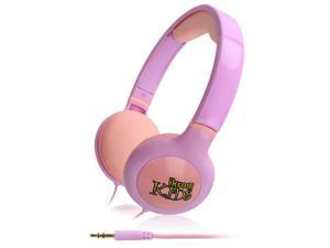 iKross Kids 3.5mm Volume Limit headphone headset with 3.5mm Long cable for Dragon Touch 7 inch Quad Core Android Kids Tablet - Purple / Pink