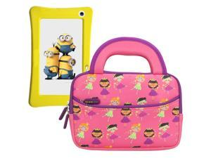 Evecase Minion WinTAB 7 Inch Touchscreen Tablet Sleeve Case, Cute Fairy Tale Princess Themed Neoprene Travel Carrying Slim Bag w/ Dual Handle and Accessory Pocket - Pink w/ Purple Trim