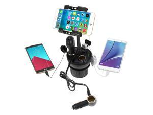 iKross Universal Adjustable Car Vehicle Cup Holder Mount with 3 Sockets and 2 USB charging port 2.1A - Black For iPhone 6 / 6 Plus, 5S, Motorola Moto E/X/G, Samsung Galaxy S6 Edge, Galaxy S6, S5