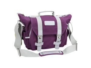 Evecase Large Canvas Messenger DSLR Digital Camera Bag with Rain cover and Removal laptop and camera insert - Purple