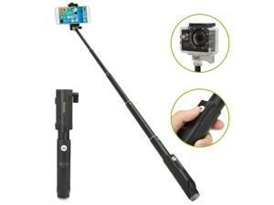 iKross Selfie Stick Handheld Extendable Monopod with Built-in Wireless Bluetooth Remote Shutter for iPhone, Samsung Smartphone, GoPro HERO Series Cam - Black