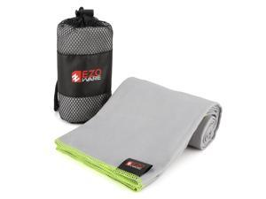 EZOWare Microfiber Towel for Pool, Travel, Beach, Bath, Gym, Camping - Gray and Green Trim / Small, Super Absorbent Quick Dry with Carry Pouch