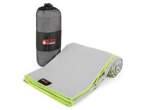 EZOWare Microfiber Towel for Pool, Travel, Beach, Bath, Gym, Camping - Gray and Green Trim / Medium, Super Absorbent Quick Dry with Carry Pouch