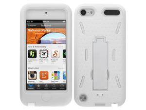 GTMax Heavy Duty Protection Cover Hybrid Case with Kickstand for Apple® iPod® Touch 5G - White Skin/White Stand